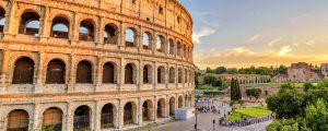 rom panorama 300x120 - Rome Sunset City Skyline At Rome Colosseum (roma Coliseum), Rome, Italy